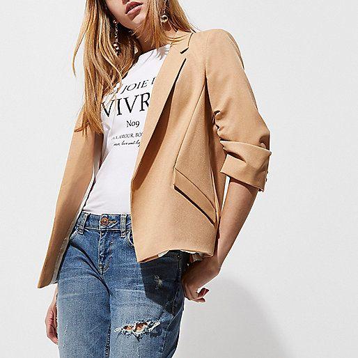 Camel ruched sleeve blazer - blazers - coats / jackets - women