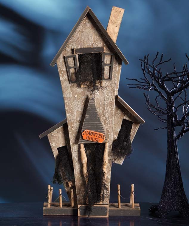 I wonder who lives there down the lane? Come walk by this haunted house tonight if you dare. I heard that it's a crabby old gray hair lady all dressed in black. She collects brooms in stacks and goes