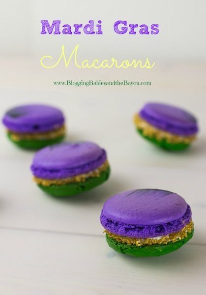French traditional Mardi Gras Macaroons, macaroons being a french pastry or delicacy.
