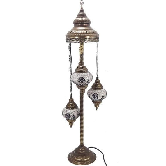 Stunningly Beautiful Turkish Moroccan Floor Lamp  PLEASE NOTE: Our lamps are made to meet UK safety requirements. Unlike other sellers our lamps are earthed, come with a UK plug and an on/off inline switch  Total Lamp Height: 100cm (39)  Total Lamp Width: 17cm (6.6)  Individual Glass Globe Width 13cm (5.5)  Individual Glass Globe Height 9cm (3.5)  Elegant and unique handmade Turkish Glass Mosaic Floor lamps are available in an array of colours, designs and sizes. The coloured stained glass…