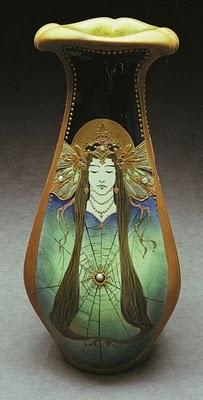 Amphora Pottery CompanyArt Nouveau, Web Design, Pottery Company, Lady Vases, Nouveau Vases, Artnouveau, Amphora Pottery, Spiders Lady, Art Deco