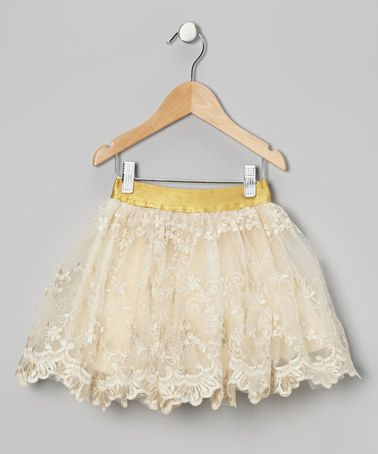Take a look at this Cream Flower Skirt - Toddler & Girls by Designer Kidz on #zulily today!