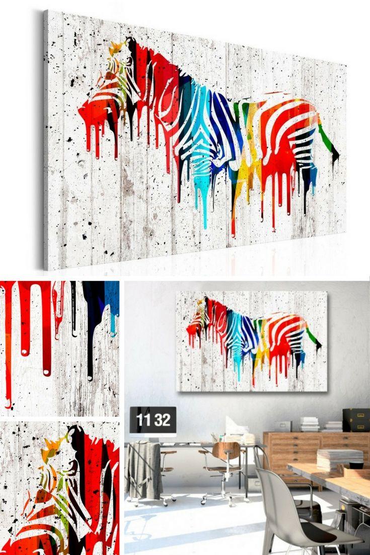 Cuadro decorativo Colourful Zebra sin lugar a dudas es una hermoso cuadro moderno. Como  podéis ver en visualización, queda perfecto en el interior minimalista ♥