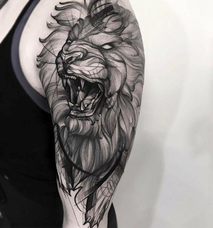 Löwen Tattoo aus Dotwork mit 3D Effekt
