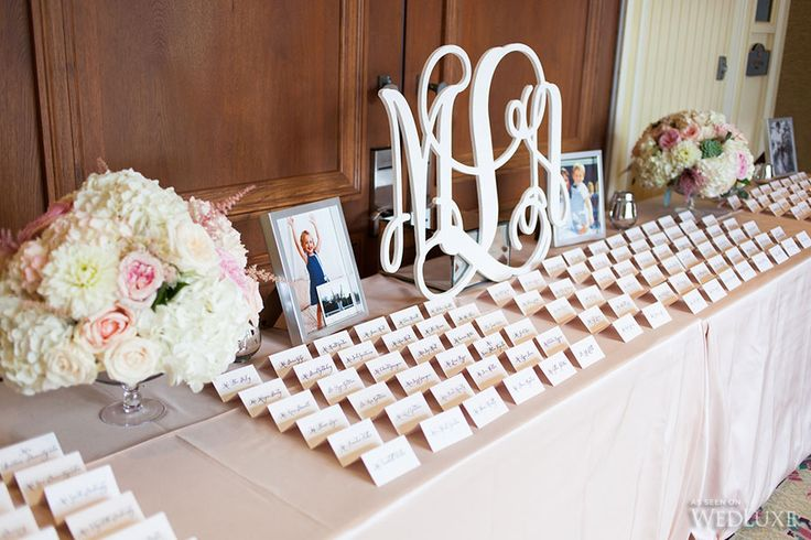 Escort table inspiration; laser cut initials and 2 small arrangements; rectangular table