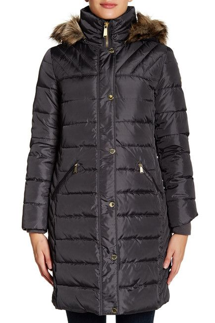 Image of Michael Kors Faux Fur Trimmed Quilted Jacket