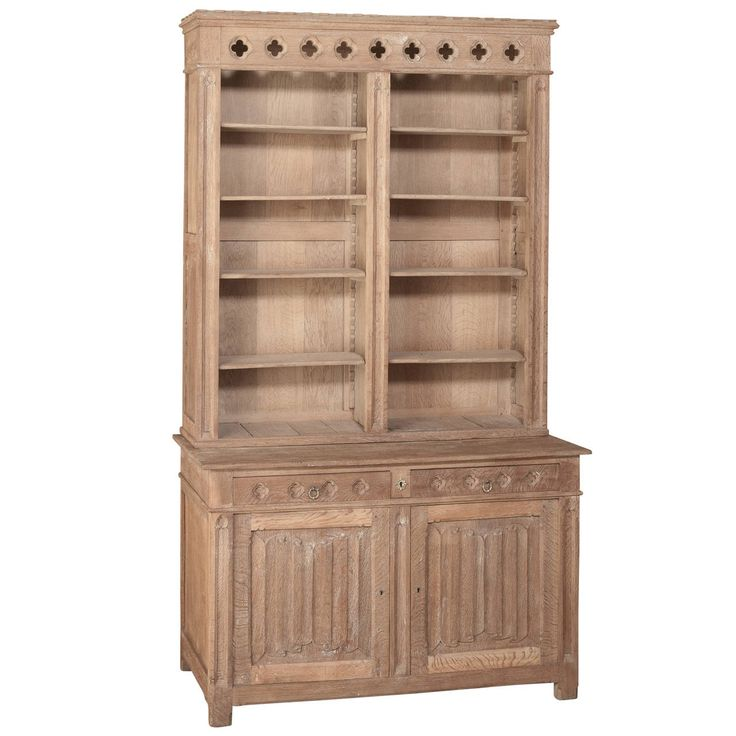 19th Century French Gothic Revival Stripped Solid Oak Bookcase | From a unique collection of antique and modern bookcases at https://www.1stdibs.com/furniture/storage-case-pieces/bookcases/