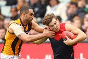 Jack Viney as he pushes off Shaun Burgoyne in a sensational Melbourne win over the Hawks❤️❤️
