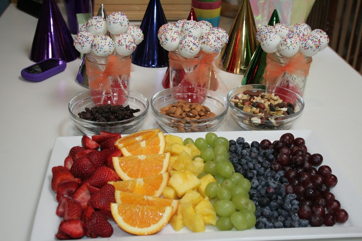 Rainbow fruit platter, rainbow cake pops, trail mix. Kids LOVED it. :)