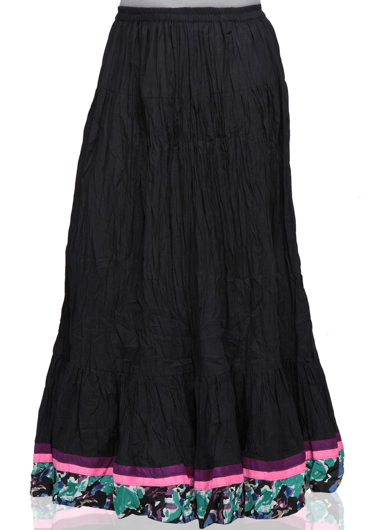 BLACK CRUSHED COTTON READYMADE SKIRT