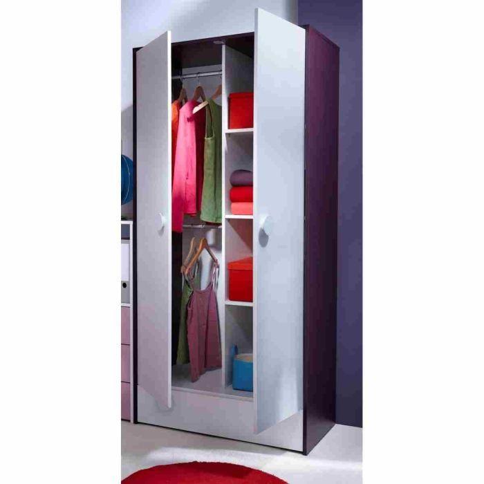 Lola armoire 2 portes blanc et prune achat vente armoire de chambre lola - Cdiscount armoire chambre ...