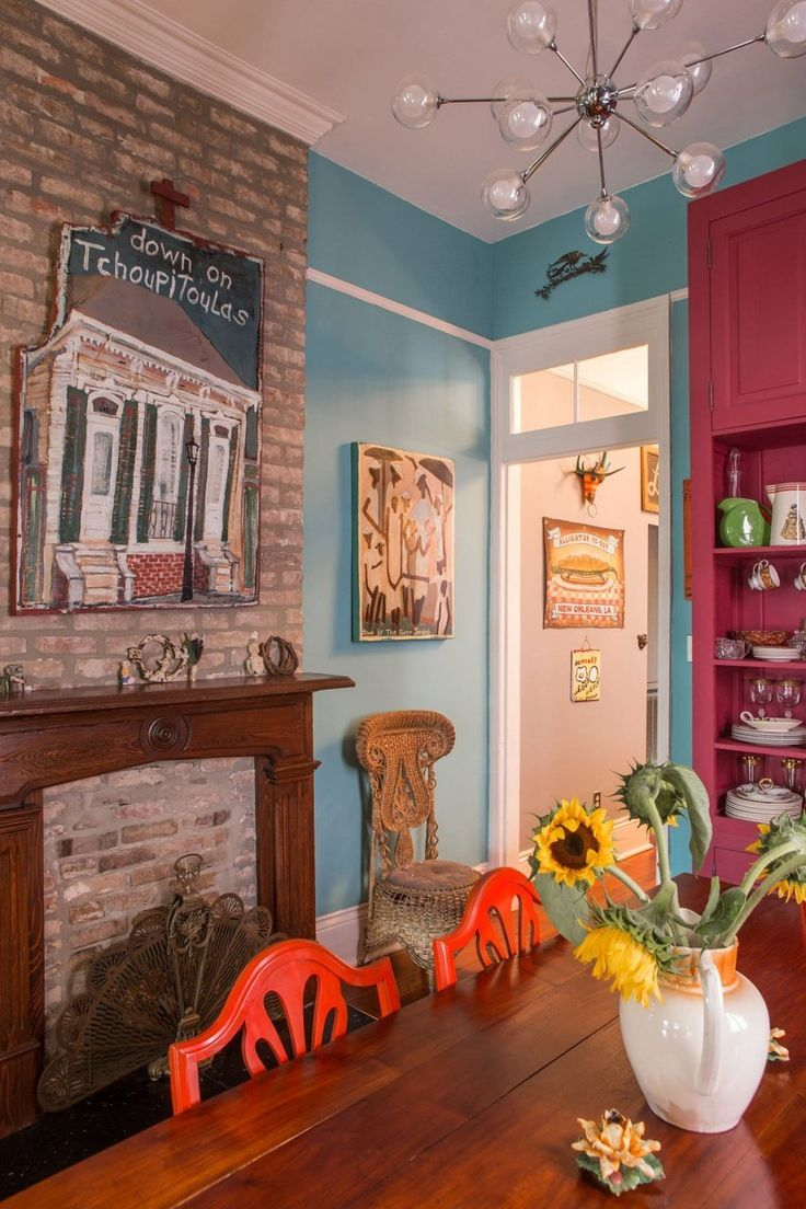 A vibrant colorful art filled new orleans home house - New orleans style bedroom decorating ideas ...