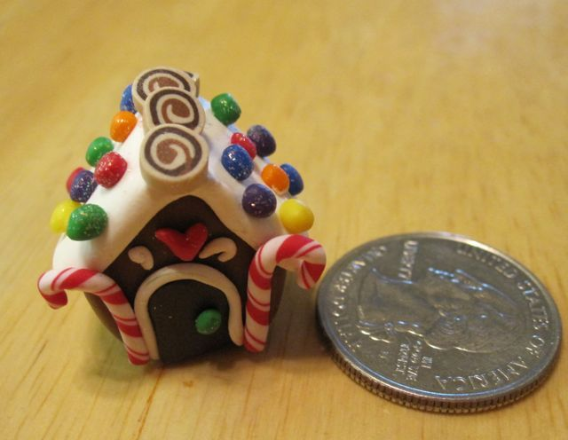 Creator's Joy: Simple miniature gingerbread house ornament out of polymer clay (fimo or sculpey)