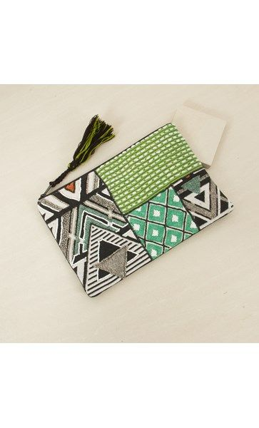 Triangle and Patch Zip Top Clutch