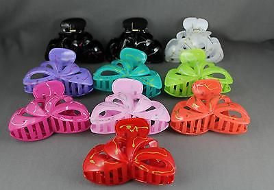 "Red cut out swirl pattern plastic 3 3/8"" long barrette hair clip claw clamp 4"