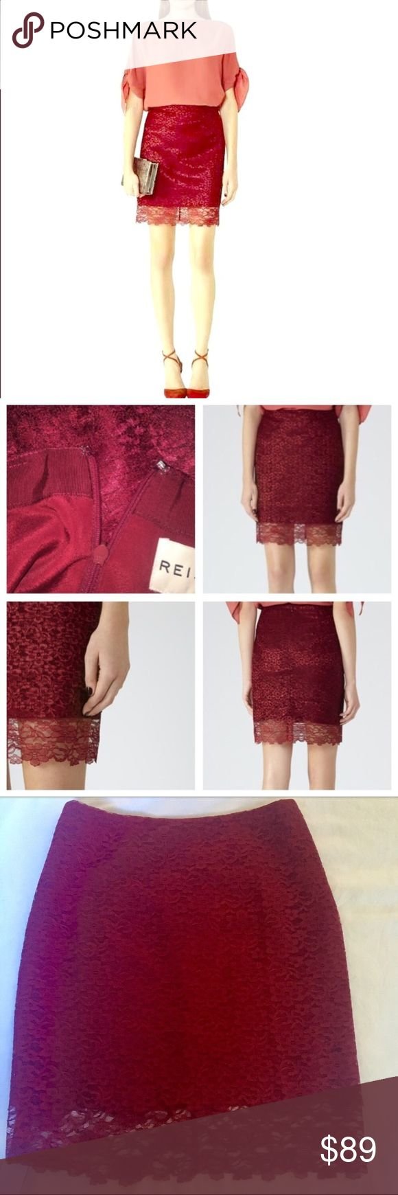 NWT Reiss red lace skirt SERIOUSLY STUNNING! New with tags! Super popular high end designer from the UK, this Reiss dark red lace skirt is delicate and gorgeous! Back zipper closure with small hook. Two layers of lace. Lined inside and has a longer lace layer to be sheer at the very bottom. So pretty. Incredibly sexy and beautiful in person! Tag says UK size 10, which is equivalent to a USA size 6. Reiss Skirts