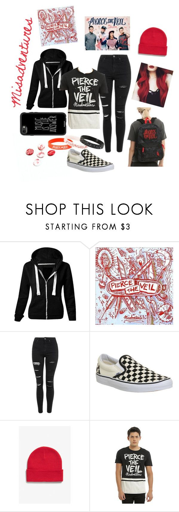 """""""Pierce The Veil - Misadventures"""" by dayna-eichenser ❤ liked on Polyvore featuring Topshop, Vans, Monki and Casetify"""