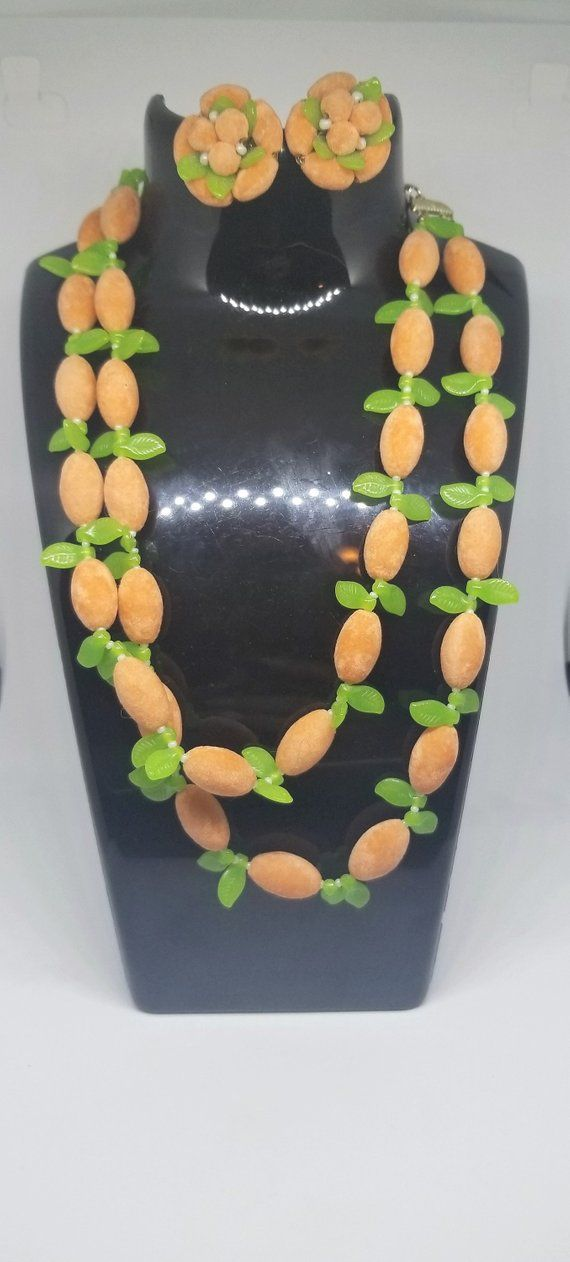 vintage 50s  fruit fuzzy velvet peach orange beads with green leaves beaded necklace and earrings set
