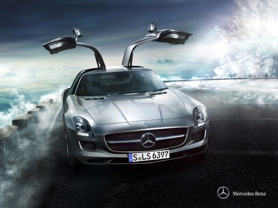 Mercedes-Benz SLS AMG. The only door that creates, rather than taking up, room when it opens.