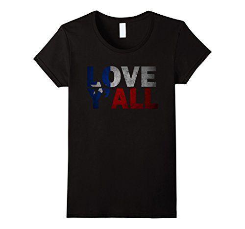 Womens Cool Texas T Shirt Texas Flag Patriotic Love Y'all Shirt XL Black