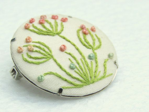 Hand embroidery flower brooch art nouveau by MargDierEmbroidery