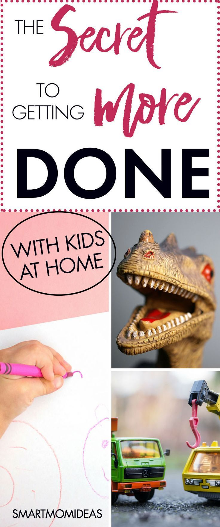 Smart Mom Ideas - I have a son that wants ME, ME, ME all the time. I can never get anything done. That was before. Now, I figured out the secret to get more stuff done in your day as a stay-at-home mom or work-at-home mom WAHM. If you have kids at home and you work at home learn the one secret that actually helped me get more work done around the house!
