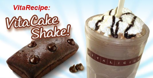 VitaCakeShake:  Chop a mini VitaCake into several pieces and place them into a blender.  Add a 1/4 cup of almond milk, a 1/4 cup of low-fat frozen vanilla yogurt, a 1/2 cup of ice, and then blend until smooth.  Pour the shake into a glass and top with 2 tablespoon of Cool Whip Free and 1 teaspoon of sugar-free chocolate syrup.  Serve and enjoy a deliciously frosty and nutritiious VitaCakeShake!