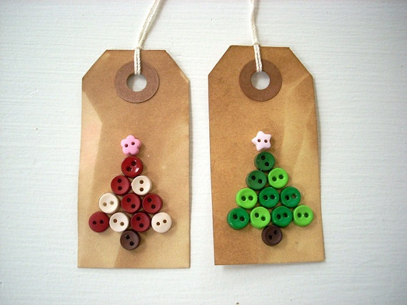 Christmas  Gift Tags Tea Stain Christmas Trees by BusyAsCanB, $3.50