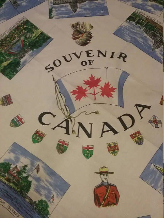 Canada Souvenir Scarf Vintage Canadian Scarf Square Silk