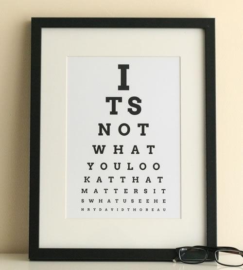 Eye Chart Maker | Make your own eyechart art to print at home | Thoreau inspirational quote