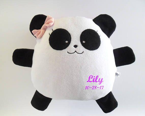 Pillow Panda bear girl cushion gift anniversary toy stuffed plushies Birthday kid decor home custom name embroidery nursery cute guyuminos