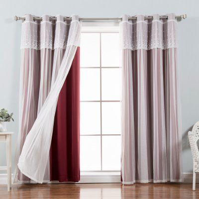 Best Home Fashion Mix & Match Tulle Blackout Curtain with Attached Valance - Set of 4 Burgundy - MM_DIMANCHE_GS-84-BURGUNDY