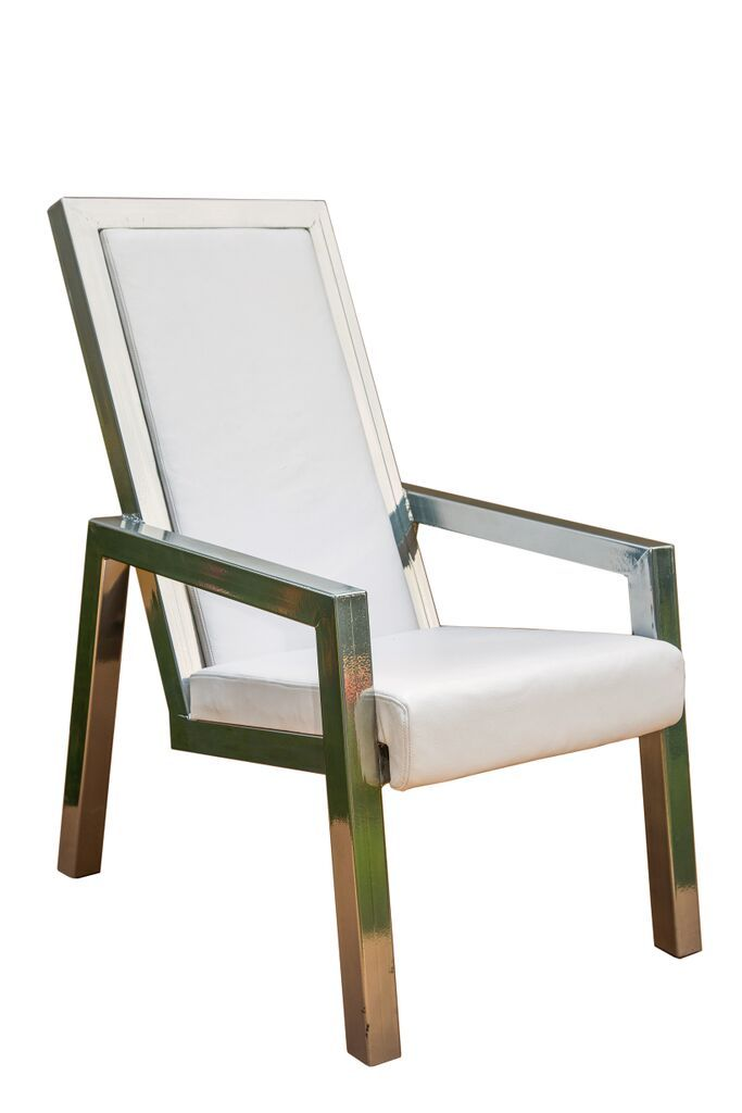 Chrome and white leather lounge chair