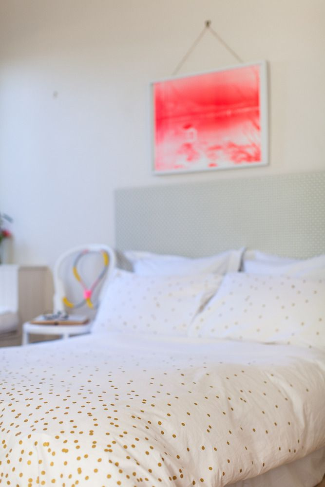 Beautiful gold polka dot duvet cover. I found a beautiful one at Target, but after reading the reviews about it, I have  reconsidered. This just means I'm on the lookout for a new gold polka dot duvet. ;)