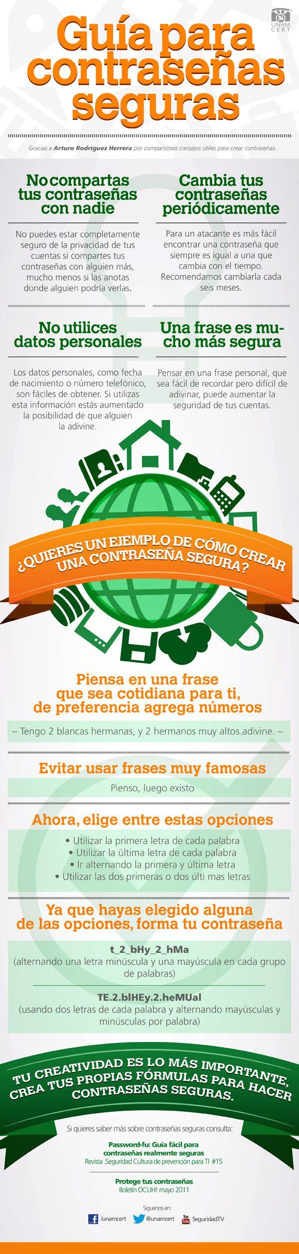 Guía para contraseñas segurashttp://ticsyformacion.com/2013/08/29/guia-para-contrasenas-seguras-infografia-infographic-internet/