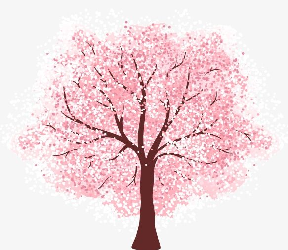 Vector Pink Cherry Tree Cherry Blossoms Cherry Tree Spring Png And Vector Tree Watercolor Painting Blossom Trees Cherry Blossom Tree