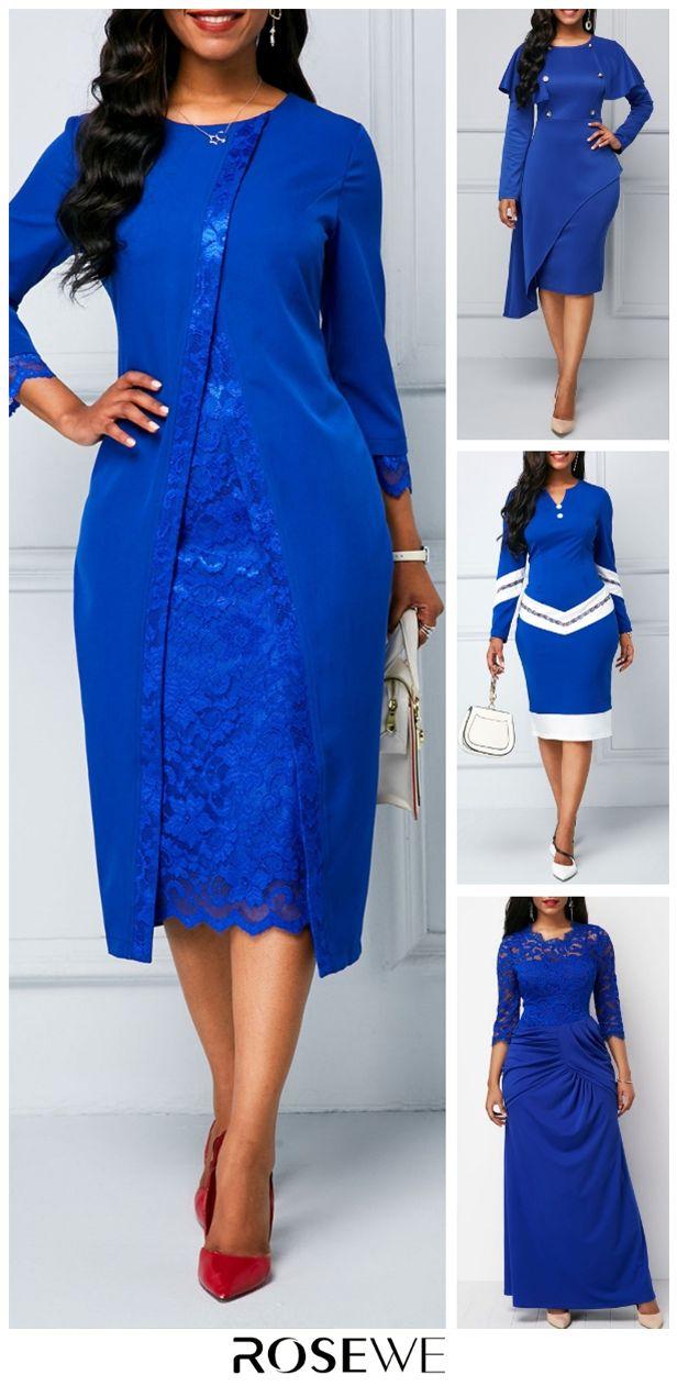 Lace Panel Long Sleeve Royal Blue Sheath Chic Dress