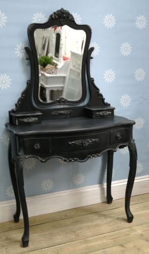 French boudoir Black Vintage Dressing Table, Vanity Mirror,Shabby Chic Bedroom