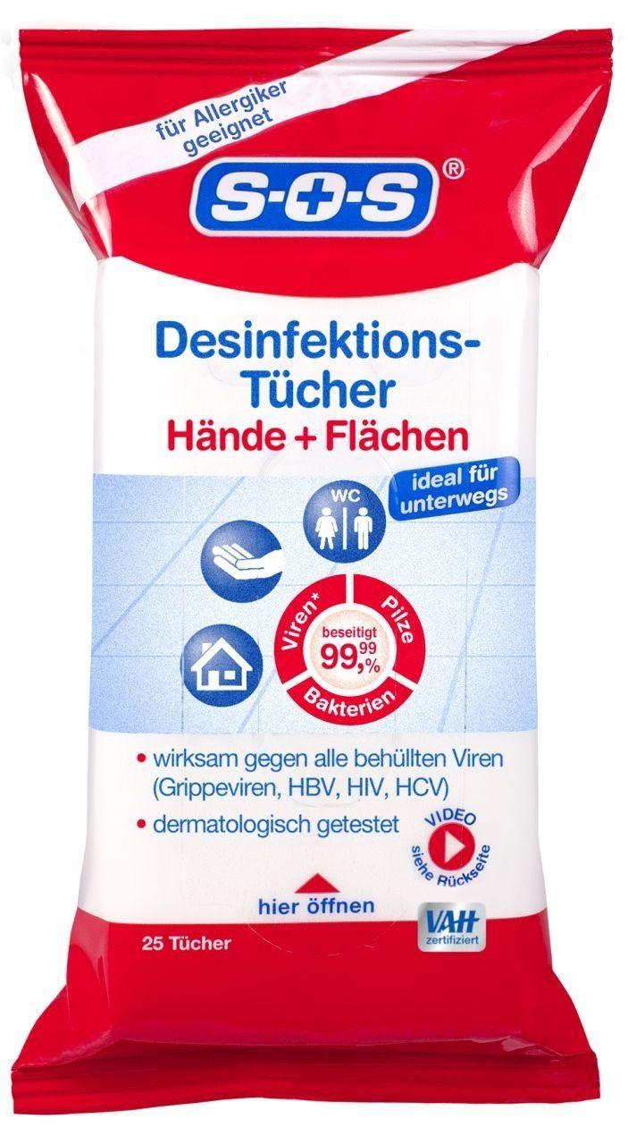 Sos Desinfektions Tucher 25 Tucher Fur Hande Und Flachen
