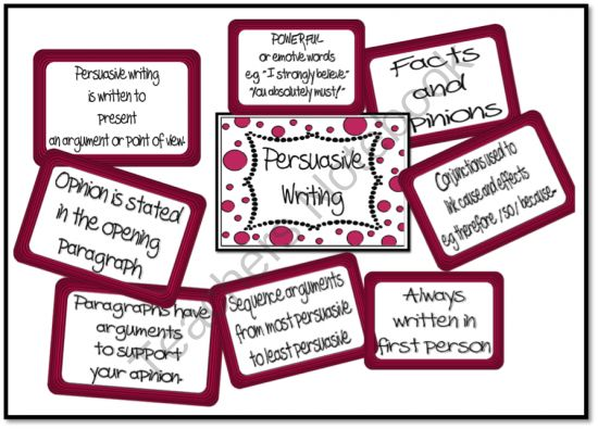 Persuasive Writing Chart Collection from Just Teach on TeachersNotebook.com -  (14 pages)  - This is a set of ready to print and laminate charts which outline the most important features of persuasive writing, a definition of persuasive writing or purpose, a list of powerful words, connectives and persuasive sentence starters. Great charts to hav