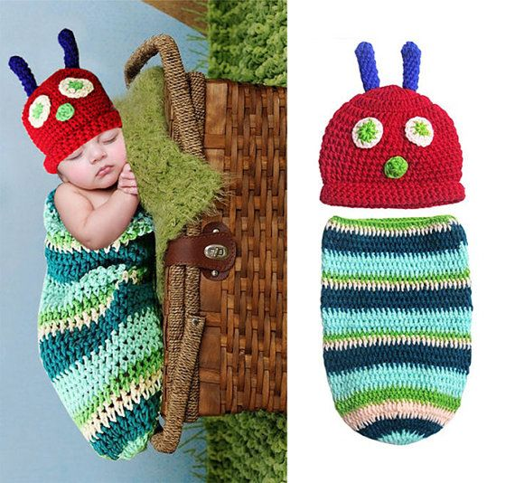 Newborn Baby Boy Girl Crochet Very Hungry Caterpillar Hat Cocoon Set Costume Photo Props 0-6 Months