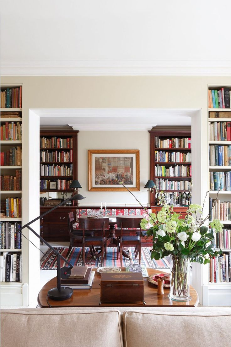 "Emma enlarged the opening between the dining and drawing rooms and installed bookcases on the drawing room side to create a deep reveal and a satisfying connection between the two spaces. Like this? Then you'll love [link url=""http://www.houseandgarden.co.uk/interiors/bookshelf-ideas-living-room-study-design""]The 101 Most Novel Bookshelf Ideas[/link]"
