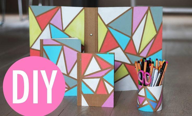 Schoolspullen met geometrische vormen DIY - Back 2 school collab