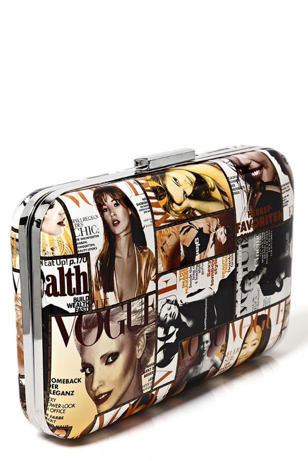 Vogue Magazine Print Clutch Bag