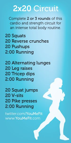 Get a great cardio and strength workout. Do 20 reps of legs, 20 reps of abs, 20 reps of arms, then 2 minutes of cardio for 3 rounds. If you don't have access to a gym or a treadmill, set a timer for two minutes and alternate between your favorite cardio exercises like jumping jacks, burpees, high knees, jump rope, etc.
