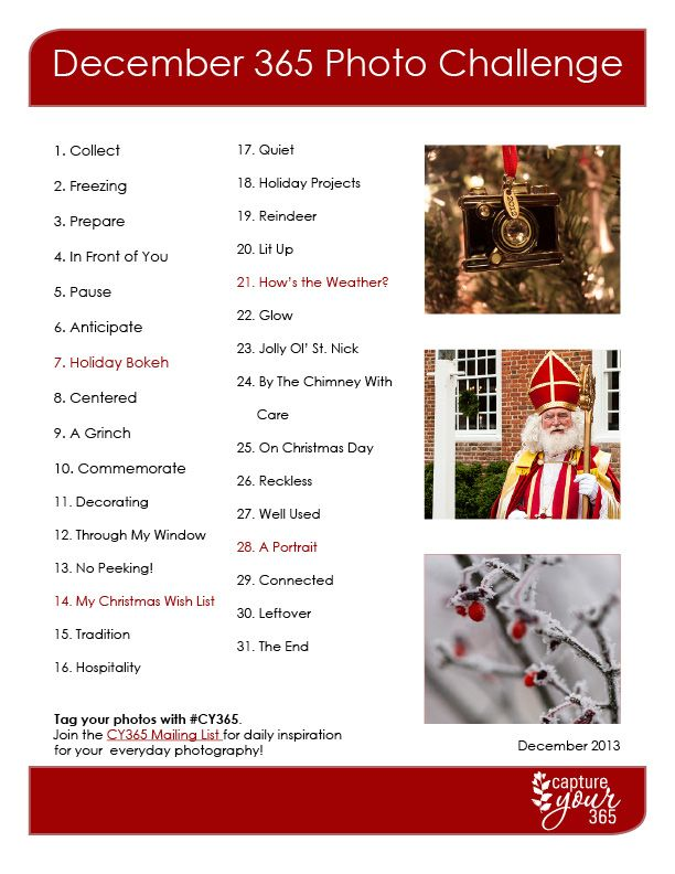 December CY365 Photo Challenge List