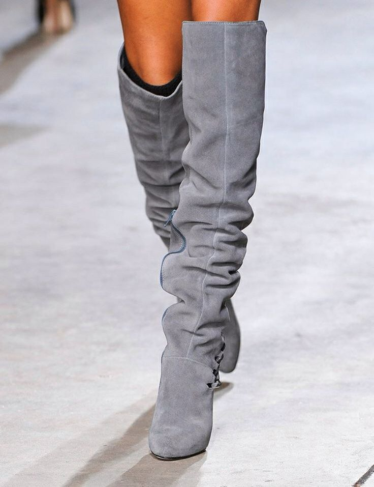 Topshop Unique Fall 2014 – Slouchy Boots | gray knee boots