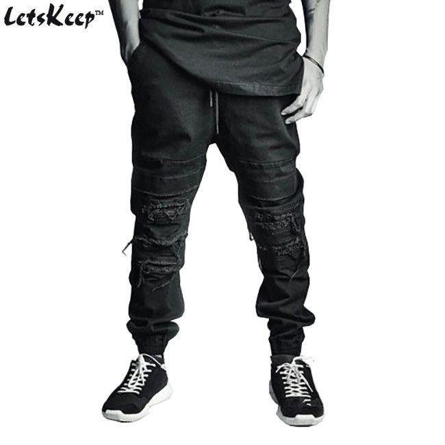 Mens Ripped jogger jeans Ankle length biker jean