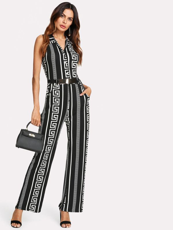 532b537dce4 Greek Key Print Sleeveless Jumpsuit -SheIn(Sheinside)