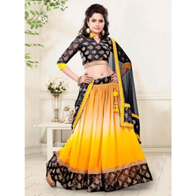 Sublime Yellow Georgette Designer Lehenga Choli comes with Blue Color Bhagalpuri Silk Blouse, Black Color Net Dupatta & Satin Inner. It contained the Thread & Printed work. Lehenga length is 44